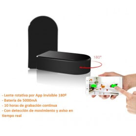 Cámara espía Rotativa 180º WIFI IP HD con control de audio